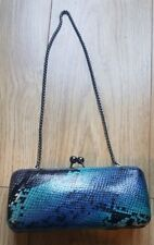 Brand New Dune Snakeskin Effect Blue Small Clutch Chain Bag Purse Clasp