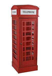 Retro Vitrine Englische Telefonzelle Rot Vitrinenschrank Standvitrine Schrank