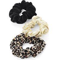 3 MINI SCRUNCHIE GOLD & BLACK VELVET & LEOPARD PRINT HAIR ELASTIC PONYTAIL BAND