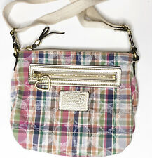 Coach Poppy Daisy Madras MultiColor Plaid Crossbody Bag Small Heart Fabric Purse