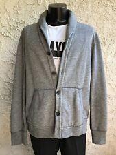 Rag Bone Men XL Gray Avery Shawl-Collar Cotton HANDMADE Cardigan Elbow Patches