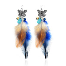 Elegant Butterfly & Feather Earrings Long Dangle Handmade Eardrop Jewellery