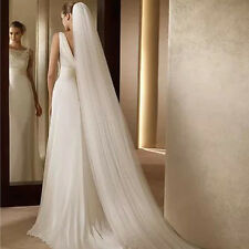 White 3M Long Romantic 2T Edge Cathedral Length Bridal Wedding Veil With Comb