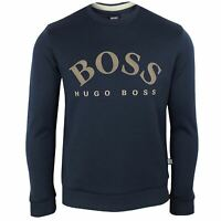 HUGO BOSS SWEATSHIRT SALBO MENS NAVY CREW NECK TOP