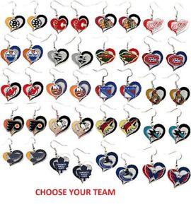 NHL Football Swirl Heart Earrings Pick Your Team