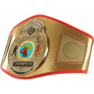 Title Boxing Flash Gold-Plated 3-D Center Plate Leather Title Belt - Gold