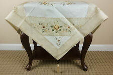 Elegant Linen Handmade Daisy Embroidered 36'' Square Tablecloth Quality Fabric