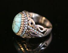 925 Sterling Silver Handmade Gemstone Turkish Turquoise Men's Ring Size 9-13