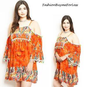 Hippie Coachella Off Shoulder Tie Dye Tassels Bell Sleeve Tunic Dress 1X 2X 3X