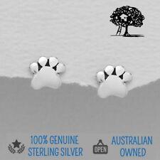 Genuine 925 Sterling Silver Paw Earrings, Stud Dog Paw Print Animal Earrings