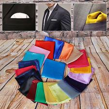 Hotsale Wedding Party Men Silk Handkerchief Pocket Square Plain Pure Color 25