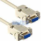 9 PIN FEMALE TO FEMALE RS232 STRAIGHT THROUGH SERIAL D-SUB CABLE DB9F LEAD 2M