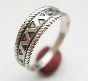 Vintage Ethnic Ornament Graceful Sterling Silver Ring 2.2 gram