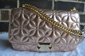 NWT $328 Michael Kors Rose Gold Quilted Sloan Large Chain Shoulder Crossbody Bag