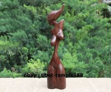 30CM Chinese Red Wood Handwork Carving African Women Girl abstract Art sculpture