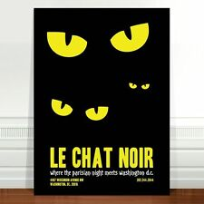 "Vintage French Poster Art ~ CANVAS PRINT 16x12"" Le Chat Noir black cat eyes"