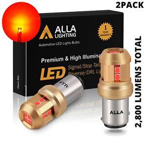 LED Red 7528 Rear Turn Signal Light Bulbs Blinker, Heavy Duty Aluminum Heat Sink