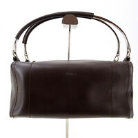 Furla Vintage All Leather Top Handle Tote Bolwing Bag in Brown - Italy Y2K