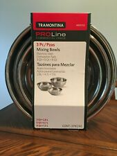 NEW Tramontina Proline Commercial Grade 3Pc Mixing Bowls Stainless Steel 3 5 8Qt