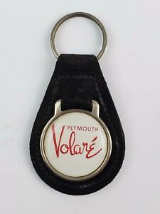 Vintage Plymouth Volare black leather Keychain FOB metal coin back
