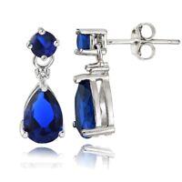 Sterling Silver Created Blue Sapphire Teardrop Dangle Earrings