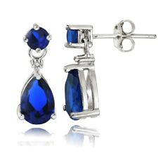 Sterling Silver Created Blue Sapphire Teardrop Dangle Earrings
