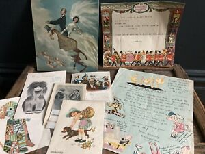 Job Lot Vintage Antique Postcards Dogs Christmas Card Wedding Telegrams letter