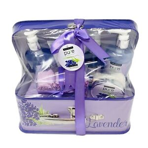 PURE Spa Gift Basket Lavender Bath and Body Gift Set with Suitcase Carry Case
