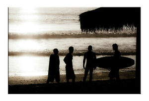 Sunset Surf Beach Canvas Prints Black And White  Beach Wall Art Prints