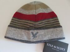 Lyle & Scott beanie hat boys age 6-10 yrs light darker grey beige red eagle NEW