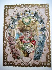 Large Elaborate Antique Love Card w/ Lovely Die Cuts & Gold Paper Lace *