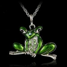 Fashion Women Animal Toad Frog Pendant Necklace Long Sweater Chain Jewelry Party