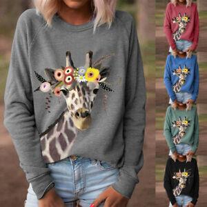 Womens Long Sleeve Jumper Blouse Ladies Casual Loose Sweatshirt Pullover Tops