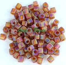 20 cubo de vidrio esmerilado chino en rosa abalorios 6 mm