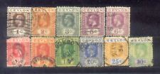 Ceylon  11 Old Stamps Wmk Mult Script CA