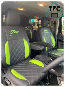 Ford Transit Custom CREW CAB SEAT COVERS ECO LEATHER Bentley Stitching 5 logos