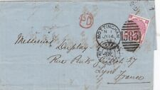 1873 GB scarce 3d rose plate 10 on cover from Nottingham to Lyon France