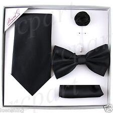 New in box Brand Q Men's necktie bowtie hankie lapel pin 4 piece set party black