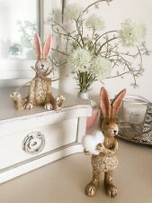 Pair Of Rabbit Ornaments Relaxed & sitting bunny &  11cm brand new