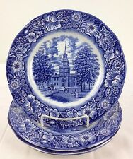 """Set of 4 Vtg 10"""" Dinner Plates Liberty Blue by Staffordshire w Independence Hall"""