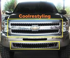 For 07~13 Chevy Silverado 1500 Black Wire Mesh Rivet Stud Grille Combo Inserts