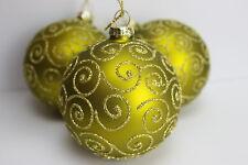 GISELA GRAHAM CHRISTMAS MATT GREEN WITH GLITTER FILIGREE GLASS BAUBLE BALL  X 3
