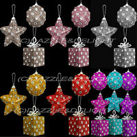 CHRISTMAS TREE DECORATION BAUBLES POLKA DOT DIAMANTE STAR PRESENT SET OF 3 OR 6