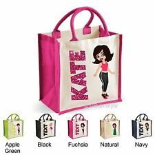 YOUR PERSONALISED CHARACTER GIFT WITH YOUR TEXT JUTE BAG WATER BOTTLE CARICATURE
