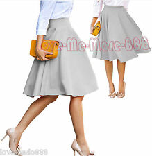 Womens High Waist Casual Wear Work solid Flared Skater Skirt Dress GRAY LARGE