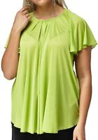 Bnwt 16-24 Womens Mesh Lined Tunic Top Angel Sleeve Yellow Plus Size Ladies