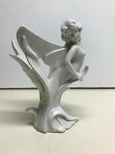 Vintage Fitz and Floyd Japan White Porcelain Fairy Dish Art Nouveau Style Pixie