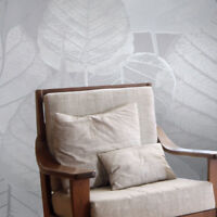 Wallpaper roll gray silver metallic modern floral tropical leaves wall coverings
