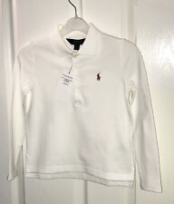 Ralph Lauren Girls White Long Sleeve Polo Top Size 5 Years New With Tags
