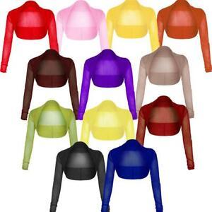 New Womens Plus Size Long Sleeve Sheer Mesh Bolero Shrug Top 8-22